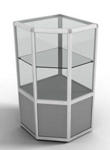 Прилавок угловой с с обзорной стеклянной витриной и одной стеклянной полкой с алюминиевым профилем