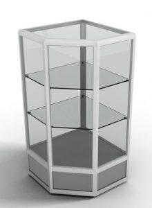 Прилавок угловой с с обзорной стеклянной витриной и двумя стеклянными полками с алюминиевым профилем