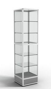 Стеллаж-витрина с алюминиевым профилем квадратная (5 стеклянных полок)