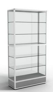 Стеллаж-витрина с алюминиевым профилем с подиумом (5 стеклянных полок)