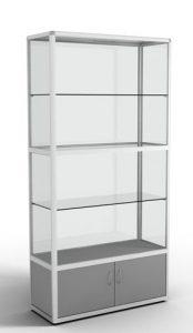 Стеллаж-витрина с алюминиевым профилем с накопителем (3 стеклянных полки)